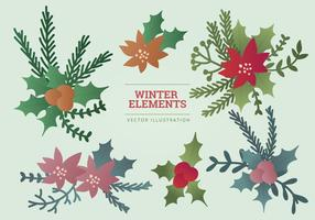 Illustration vectorielle d'éléments hivernaux