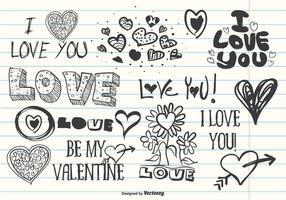 Assortiment de Doodles d'amour mignon vecteur