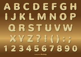 Ensemble Alphabet Doré vecteur