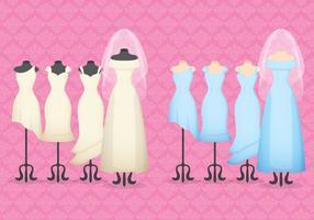 Robes de mariée et de mariée vecteur