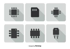 Ensemble d'icônes Microchip vecteur
