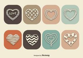Icônes de coeur de style vintage