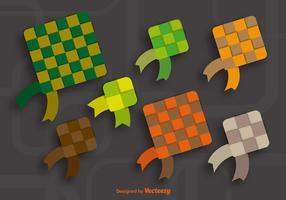 Icônes ketupat colorées vecteur