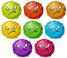 virus en colère de dessin animé bouchent ensemble