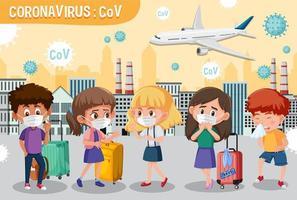 scène avec des gens de bande dessinée portant des masques pour la protection contre les coronavirus vecteur