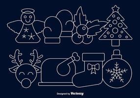 Icônes de ligne de Noël vecteur