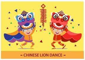 Danse du lion chinois vecteur