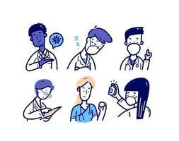 jeu de caractères médicaux dans un style doodle vecteur