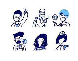ensemble d'avatar doodle personnel médical vecteur