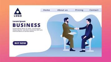 Page de destination d'entreprise avec des hommes se serrant la main vecteur