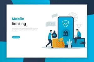 page de destination des services bancaires mobiles vecteur