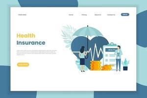 femme, à, parapluie, assurance maladie, page de destination vecteur