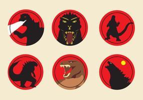 Icônes Godzilla vecteur