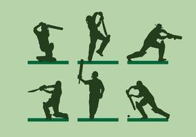 Vecteur silhoutte de joueur de cricket