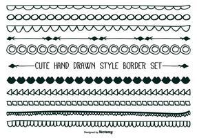 Joli ensemble de bordure de style dessiné à la main vecteur