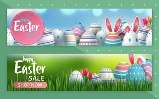 ensemble de bannière web de vente spéciale de vente colorée de pâques