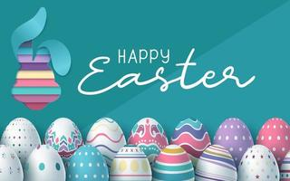 carte de Pâques avec fond d'oeufs colorés
