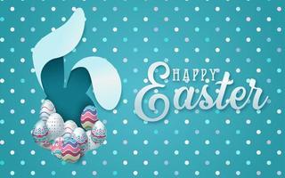 carte de Pâques avec cadre en forme d'oeuf coupé en papier avec des fleurs de printemps vecteur