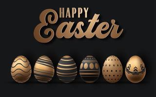 fond de Pâques Joyeux ou carte avec des oeufs de Pâques réalistes vecteur
