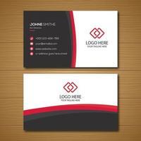 modèle de carte d'entreprise simple blanc noir et rouge