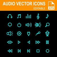 icônes audio bleues