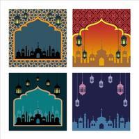 ensemble d'affiches de ramadan de différentes couleurs