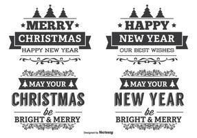 Ensemble d'étiquettes typographiques de Noël vecteur