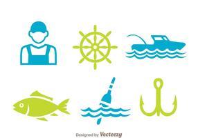 Icônes d'élément de pêche vecteur