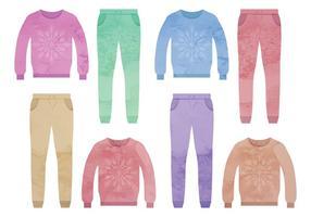 Ensemble vectoriel de vêtements colorés