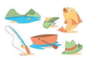 Ensemble vectoriel de canne à pêche