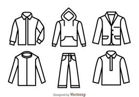 Icônes de contour de vêtements vecteur
