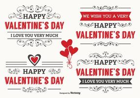 Étiquettes typographiques de la Saint-Valentin