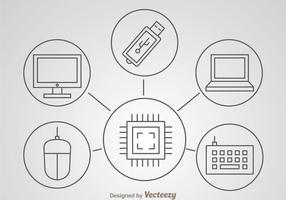 Icônes minces d'ordinateur Ouline