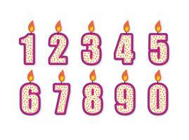 Ensemble de bougies d'anniversaire d'anniversaire mignon vecteur
