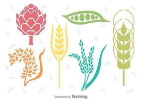 Ensemble de plantes céréalières vecteur