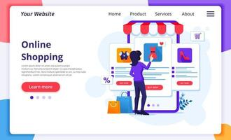 femme, choix, article, mobile, magasin, landing page
