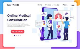 page de destination de la consultation médicale en ligne vecteur