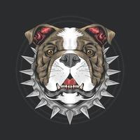 tête de chien de taureau avec collier à pointes