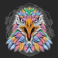 conception de plumes pastel tête d'aigle coloré vecteur