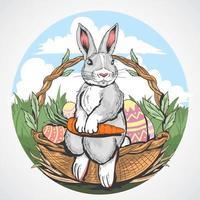 lapin de Pâques avec carotte dans la conception du panier