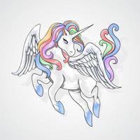 licorne volante aux cheveux arc-en-ciel vecteur