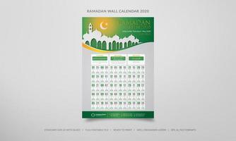 calendrier mural ramadan 2020 en vert et orange vecteur