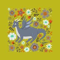 dragon parmi les fleurs design vecteur