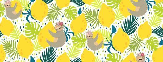 paresseux tenant le modèle sans couture de citrons jaunes