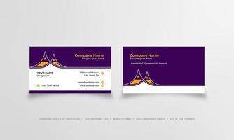 carte de visite élégante pourpre et orange