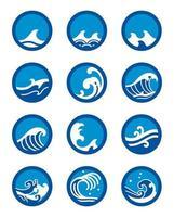 jeu d'icônes de vague océanique circulaire vecteur