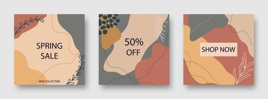 ensemble de bannière de vente de forme abstraite marron et gris vecteur