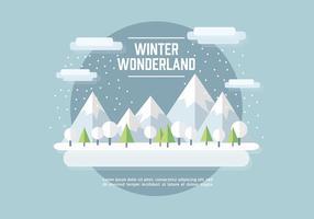 Fond d'écran plat de paysage d'hiver vecteur