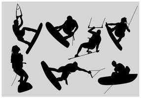 Vecteurs de silhouette de wakeboard