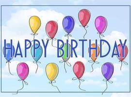 Illustration vectorielle gratuite d'une carte de voeux de joyeux anniversaire